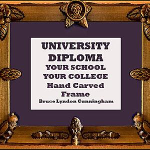 Framed Diploma- HandCarved Magnolia